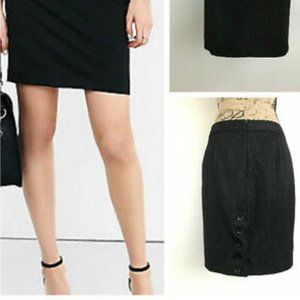 Express Black 2-Pocket Pencil Skirt with Buttons